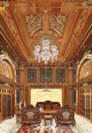 Những mẫu thiết kế phòng khách nội thất gỗ đẹp sang trọng phong cách cổ điển