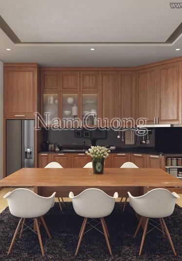 Mẫu thiết kế nội thất phòng bếp hiện đại màu gỗ sang trọng - PBHDG 001