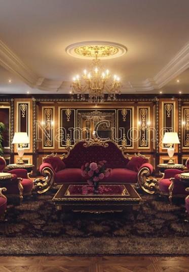 Thiết kế phòng khách cổ điển màu đỏ ấn tượng tại Sài Gòn - NTPKD 001