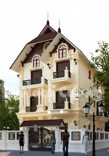Mẫu thiết kế biệt thự tân cổ điển 3 tầng mái thái