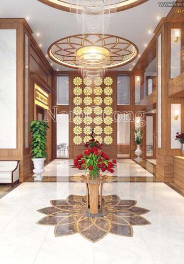 Thiết kế sảnh khách sạn bằng gỗ cực ấn tượng