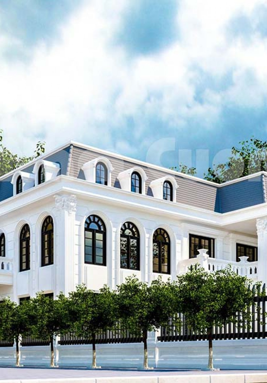Kiến trúc ấn tượng của biệt thự 2 tầng mái marsand