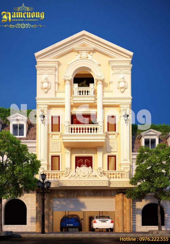 Mẫu biệt thự 4 tầng cổ điển kiến trúc Pháp