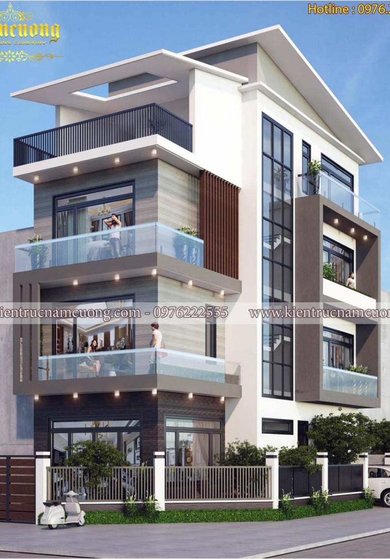 Thiết kế biệt thự hiện đại 2 mặt tiền đẹp tại Vĩnh Phúc