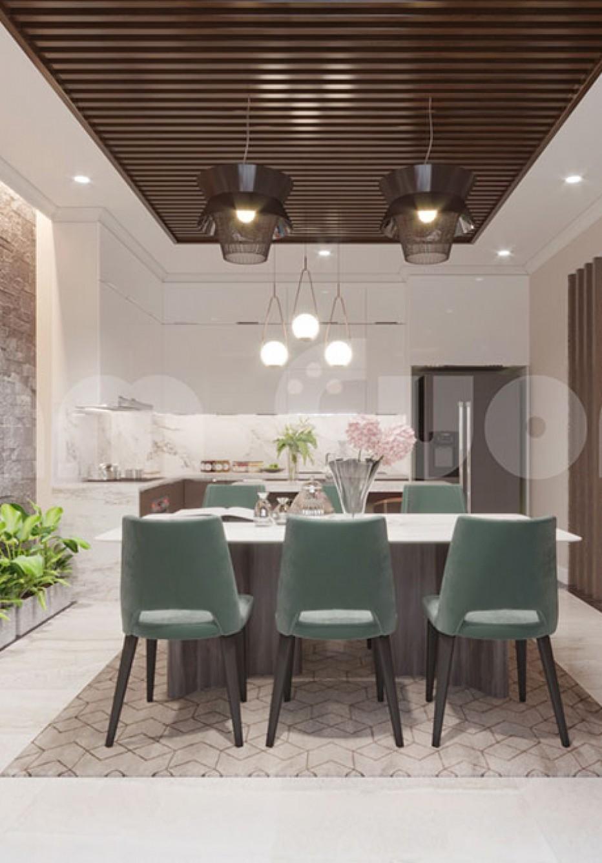 Nội thất tân cổ điển- Phòng bếp ăn nhà ống tân cổ điển