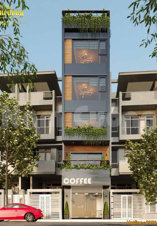 Nhà ống hiện đại kinh doanh cafe và cho thuê căn hộ