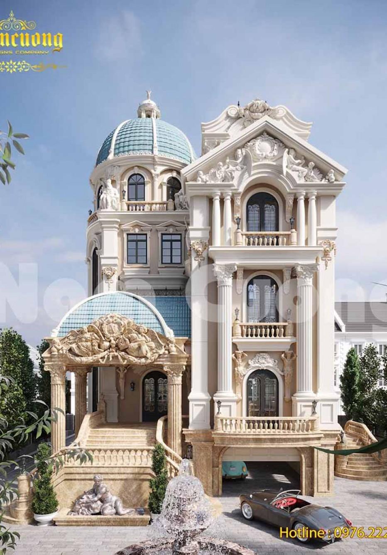 Mẫu thiết kế biệt thự lâu đài có gara đẹp