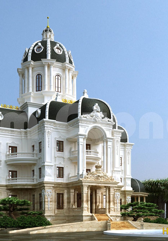 Mẫu thiết kế biệt thự lâu đài kiểu Pháp hoành tráng