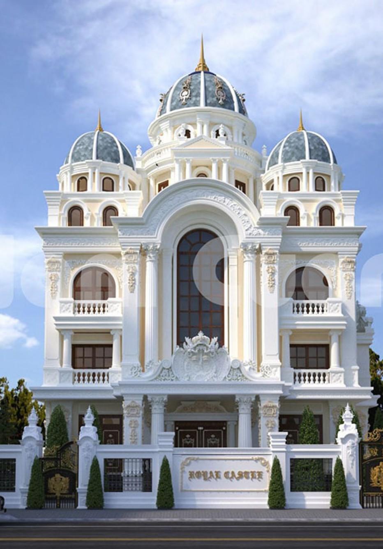 Mẫu thiết kế biệt thự lâu đài Pháp cổ-CĐT chị Dung