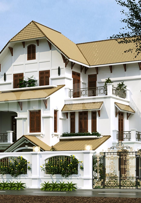 Phối cảnh ngôi biệt thự Pháp mái ngói 3 tầng