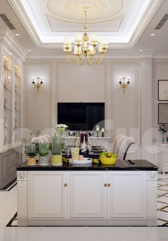 Thiết kế nội thất khách bếp đẹp với tone màu trắng - NTKB 0102