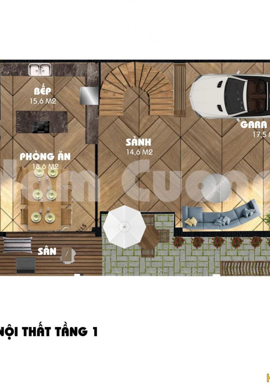 Bản vẽ mặt bằng nội thất 3D của biệt thự tân cổ điển tại Vinhomes