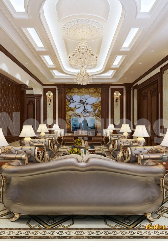 Thiết kế nội thất phòng khách hoành tráng cho biệt thự lâu đài