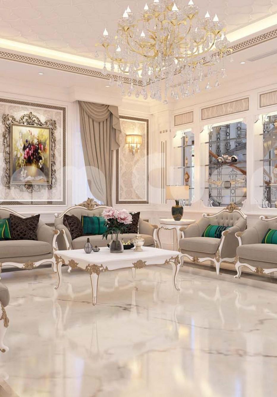 Thiết kế nội thất khách bếp cho biệt thự Pháp