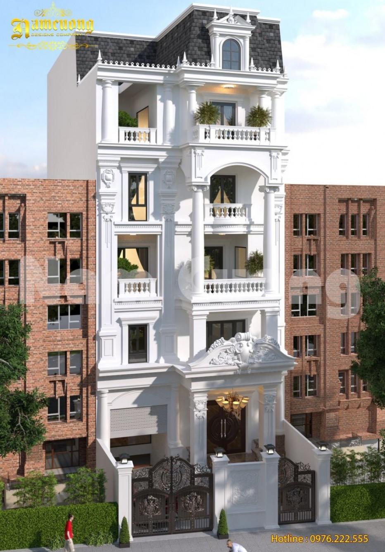 Thiết kế biệt thự phố 6 tầng tân cổ điển mái Marsand