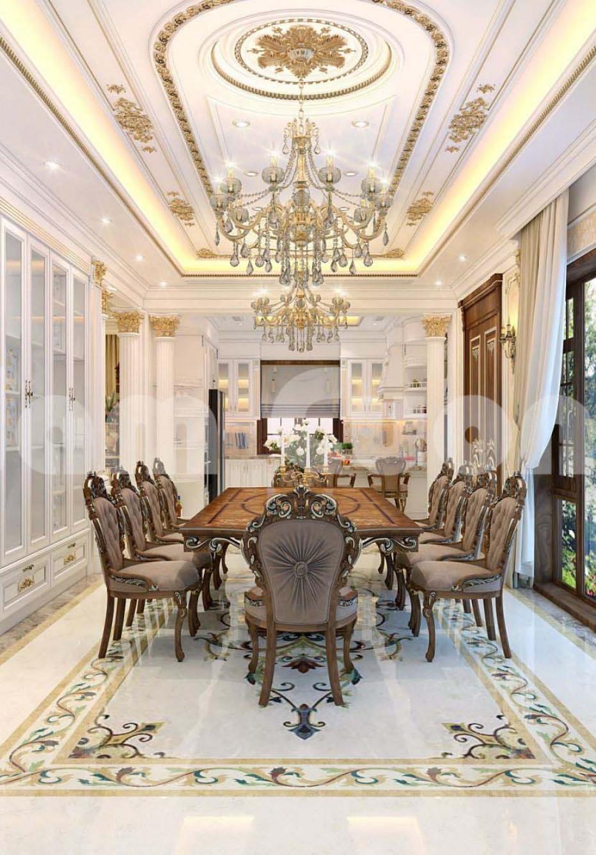 Thiết kế nội thất phòng khách và bếp liền kề phong cách cổ điển