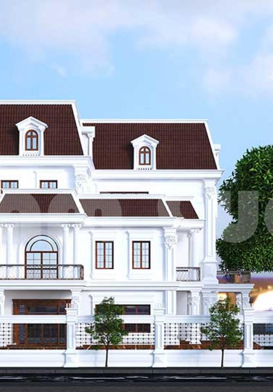 Mẫu thiết kế biệt thự 3 tầng mặt tiền 15m đẹp sang trọng