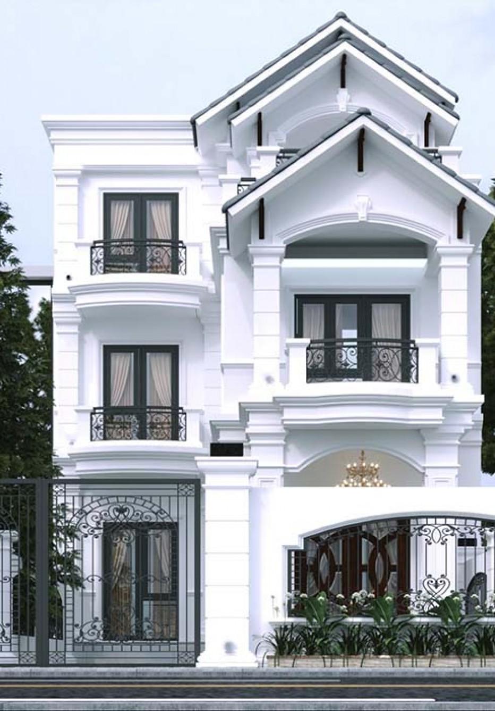 Mẫu thiết kế biệt thự phố 3 tầng mái thái đẹp