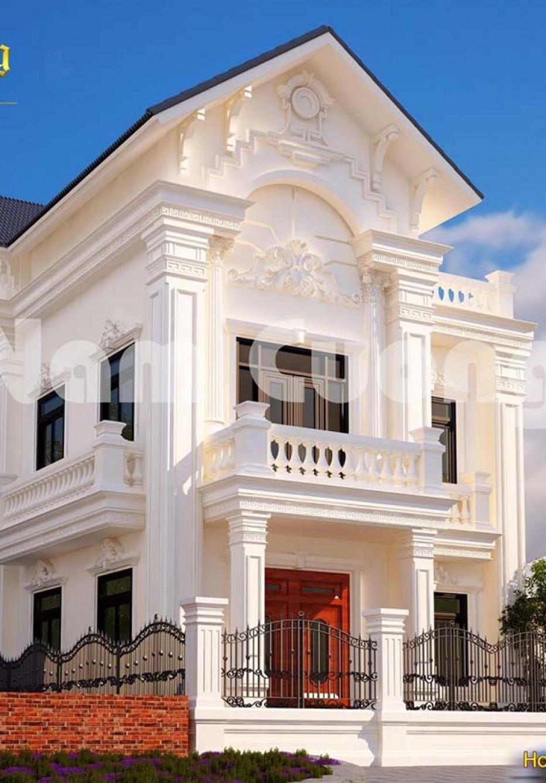 Thiết kế biệt thự tân cổ điển 2 tầng mái Thái đẹp
