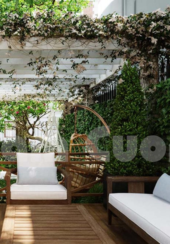Thiết kế tiểu cảnh sân vườn phía trước biệt thự-CĐT chị Oanh