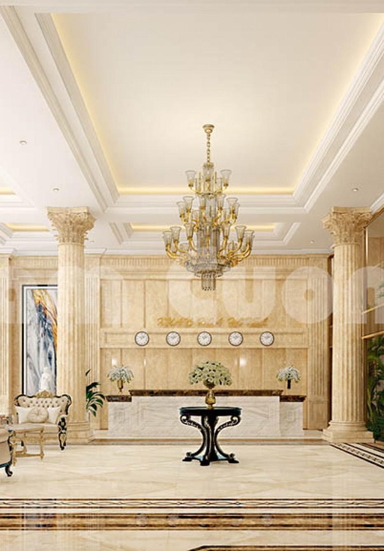Thiết kế nội thất khách sạn khu vực sảnh mang phong cách tân cổ điển