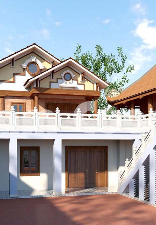 Thiết kế nhà 2 tầng ở nông thôn đẹp