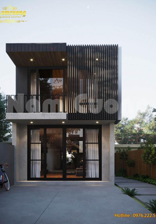 Thiết kế nhà phố 2 tầng có bể bơi hiện đại