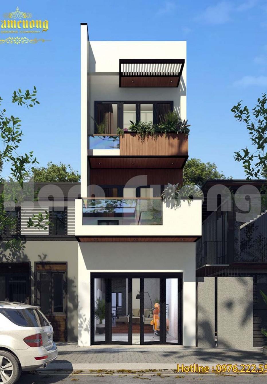 Thiết kế nhà phố 3 tầng mặt tiền 4m hiện đại