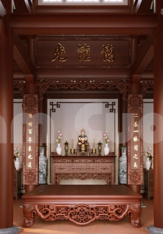 Thiết kế nội thất nhà thờ họ ấn tượng tại Hưng Yên