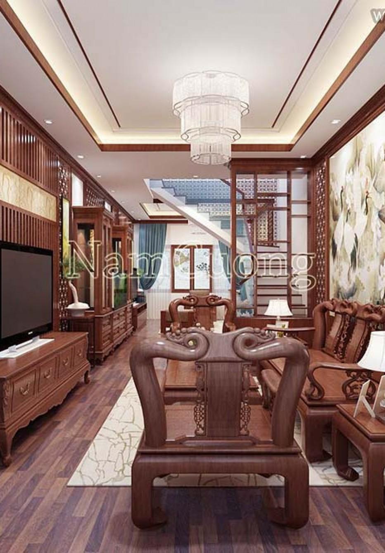 Nội thất biệt thự Á Đông 3 tầng đẹp mãn nhãn