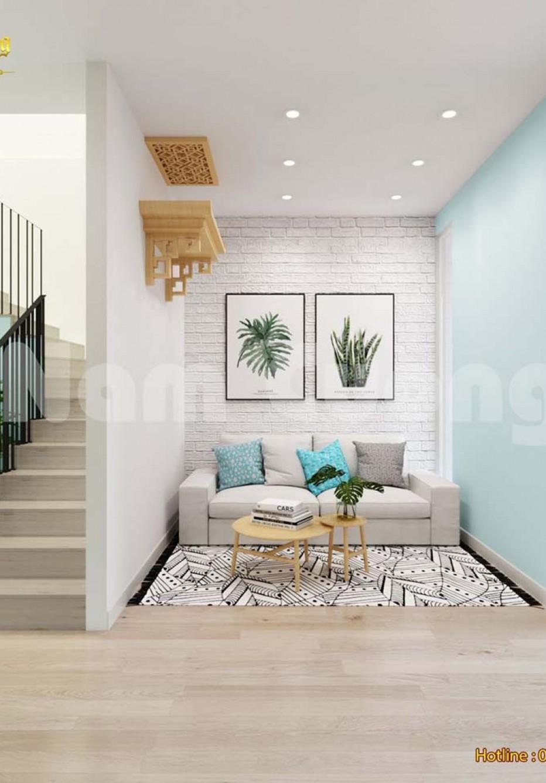 Thiết kế nội thất màu xanh trắng cho phòng khách bếp