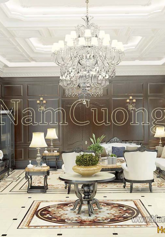 Mẫu thiết kế nội thất phòng khách và bếp gỗ tự nhiên