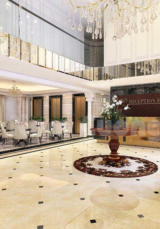 Vẻ đẹp xa hoa của mẫu nội thất sảnh khách sạn 100m2