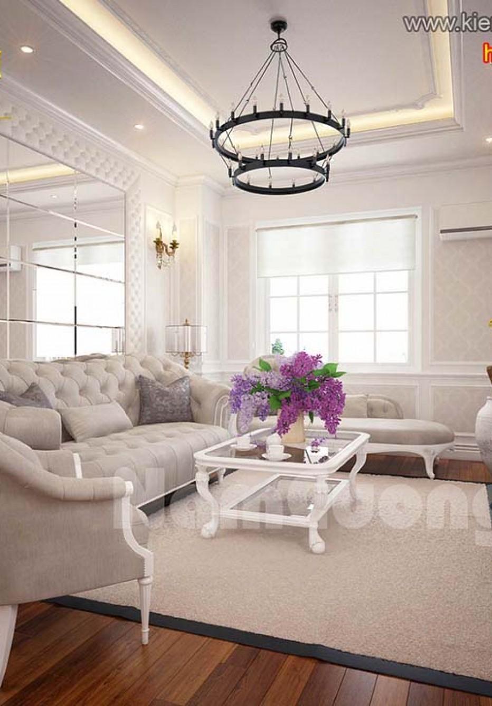 Ấn tượng mẫu thiết kế nội thất phòng khách liền bếp chung cư