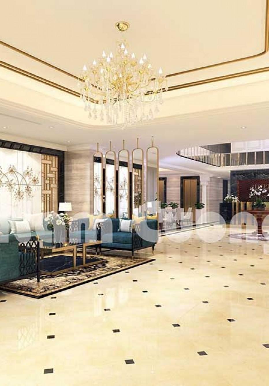 Mẫu thiết kế sảnh khách sạn 3 sao 120m2 sang trọng