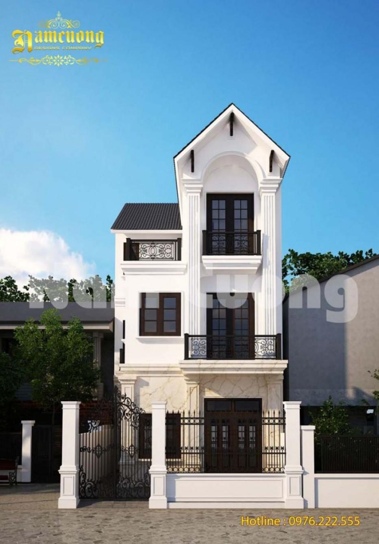 Thiết kế mặt tiền nhà 3 tầng phong cách tân cổ điển