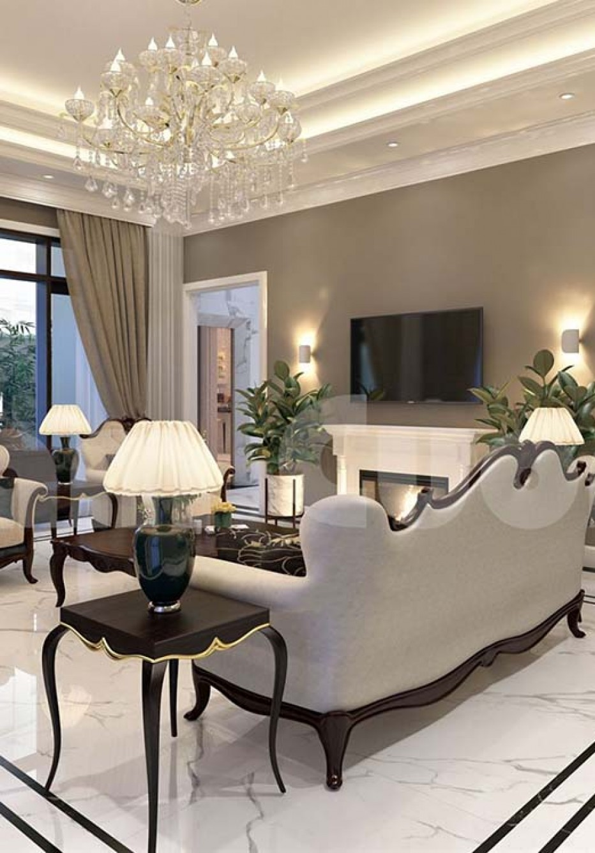 Mẫu thiết kế phòng khách và bếp 30m2 cho biệt thự