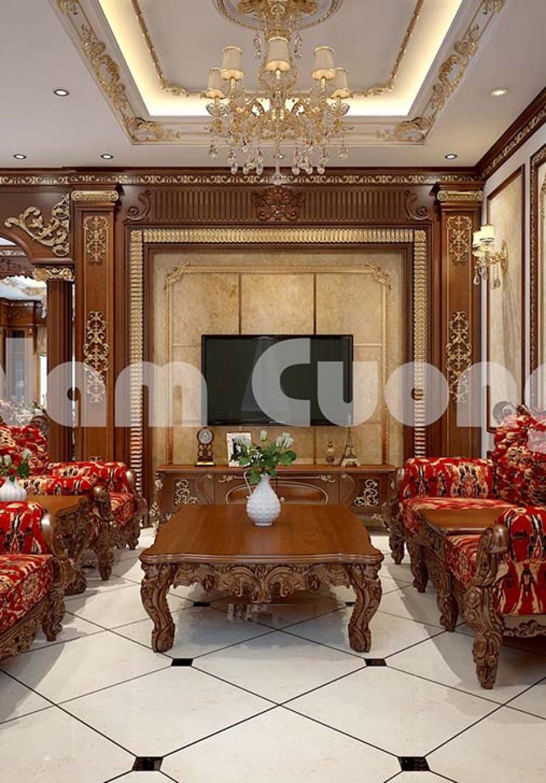Thiết kế phòng khách và bếp thông nhau trong biệt thự