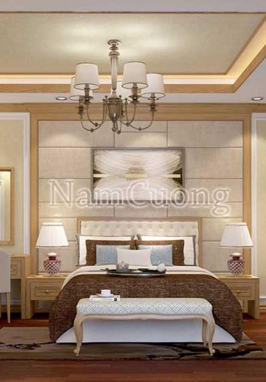 Thiết kế phòng ngủ gỗ tự nhiên cho biệt thự